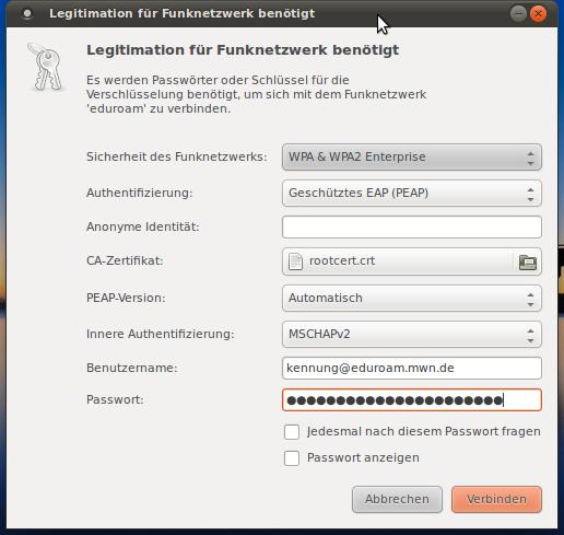 LRZ: Einrichtung einer eduroam-Verbindung unter Linux (Ubuntu)