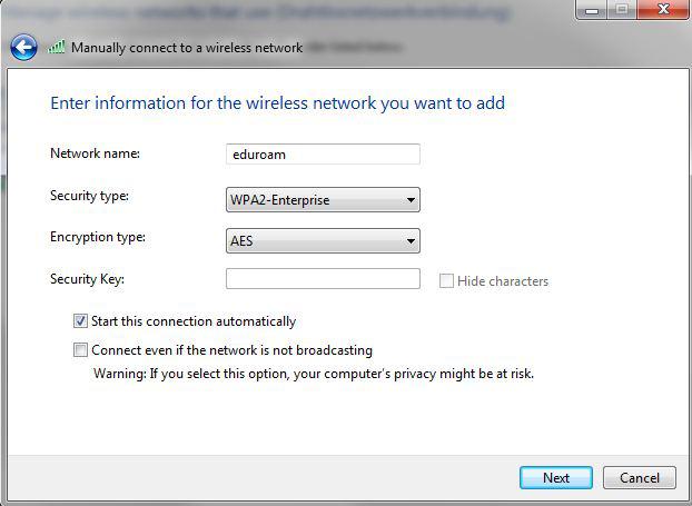 LRZ: eduroam Configuration under Windows