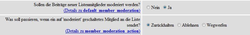 Konfiguration von Diskussionslisten