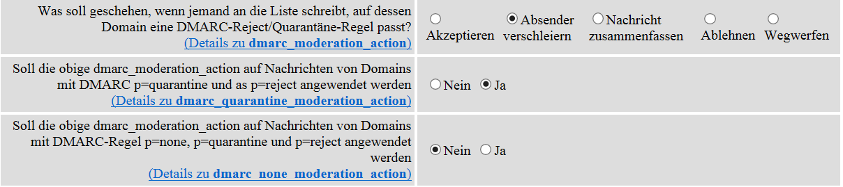 dmarc-optionen